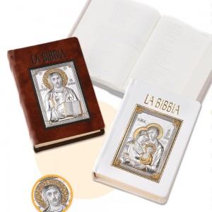 Bibbia in pelle con placca argento