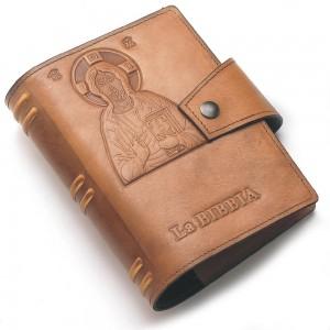 Copri Bibbia in pelle con Cristo stampato