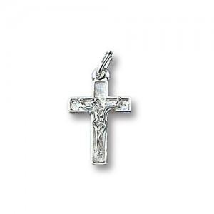 Croce lavorata in argento rodiato