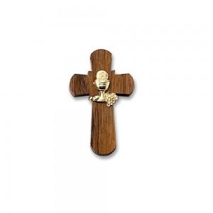 Croce legno con placca calice con cordoncino