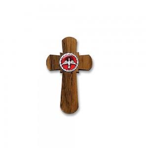 Croce legno con placca Spirito smaltata con cordoncino