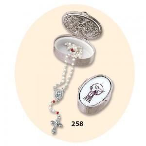 Scatola metallo con rosario Cresima