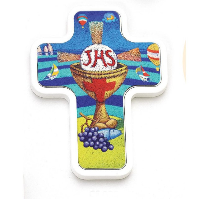 Wooden cross with Calisti image
