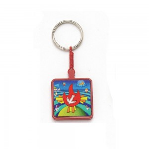 Wooden keyring with Calisti image