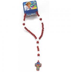 Rosario rilegato legno rosso con confezione