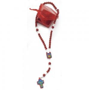 Rosario rilegato legno rosso Cresima con confezione