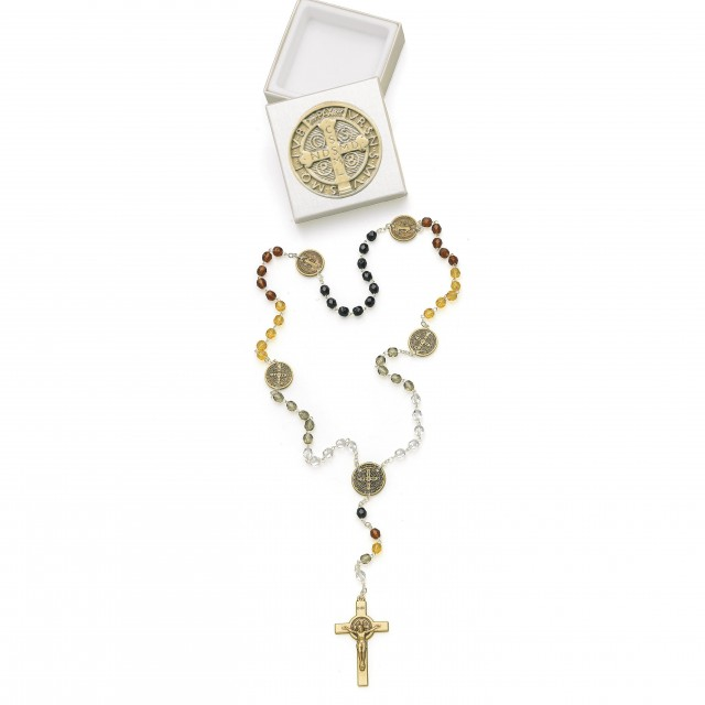 St. Benedict rosary with bronze shading