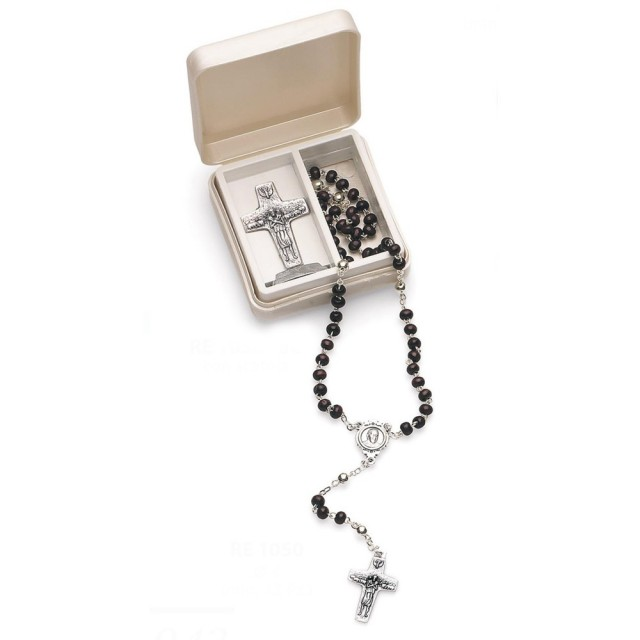 Black Rosary and cross, Pope Francis