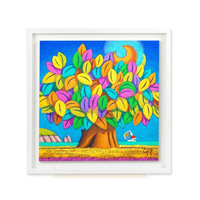 Square shaped wooden picture Calisti series with frame