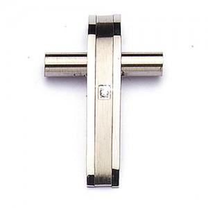 Croce in Acciaio Curva con Strass
