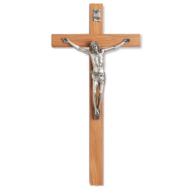 Beech Wood Cross with Metal Body