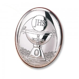 OVAL WOOD AND SILVER PICTURE COMMUNION