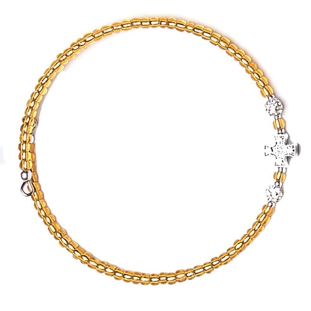 Adjustable glass bracelet with cross