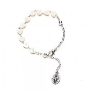 Heart-shaped mother-of-pearl bracelet