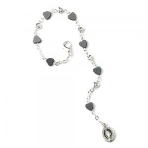 Metal bracelet with metal hearts and Hematite