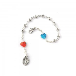 Metal bracelet with metal hearts and pater in Murano