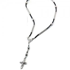 Rosary necklace in rubber and silver