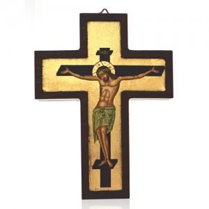 Greek cross in wood with silk-screen printing
