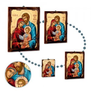 Greek rough wooden icon with silk-screen print on canvas