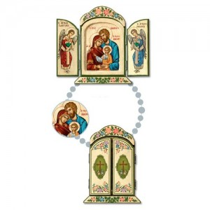 Greek wooden triptych with silk-screen print on canvas with flowers