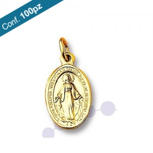Miraculous Madonna medal in golden aluminum