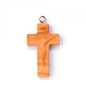 Cross in olive wood with Christ in relief