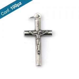 Croce tondino metallo ossidato con corpo con anello