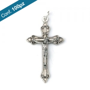 Oxidized metal cross with body with ring in packs of 100 pieces