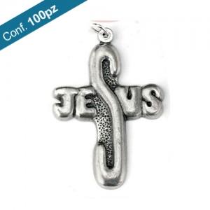 Croce metallo Jesus ossidato in confezioni da 100 pezzi