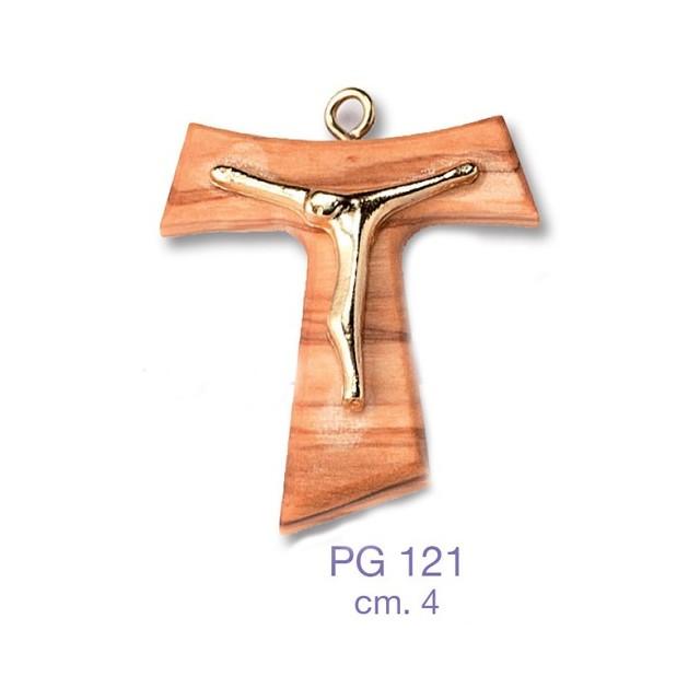 Cross in golden wood with Christ in metal