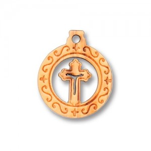 Pendant in round olive with a perforated shaped cross