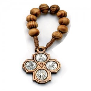 Scapular decade rosary bound in wood