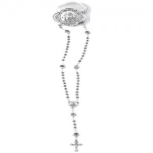 Rosary in the shape of an oxidized rose with a scapular pater with a box