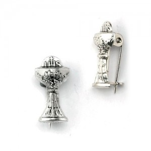 Cross oxidized metal goblet with brooch
