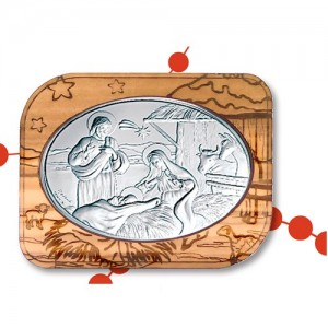 Nativity olive and silver framework