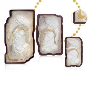 Pannello in legno e polvere alabastro con Swarovki e foglia oro