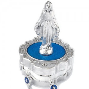 Metal rosary box with Miraculous statue for rosary with 4 mm grain
