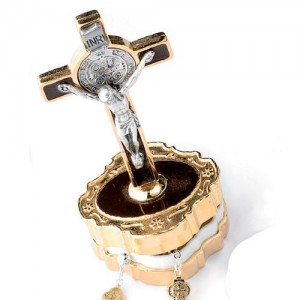 Metal rosary box with Saint Benedict golden cross for rosary with 4 mm grain