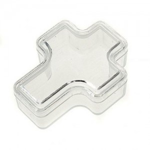 Plastic box in the shape of a cross for one decade rosary