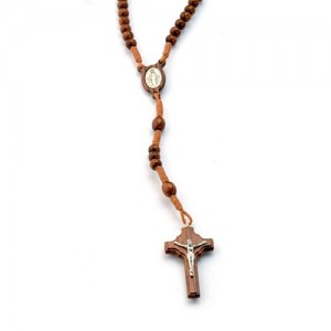 Rosary in rosewood round wood and silver tied in string