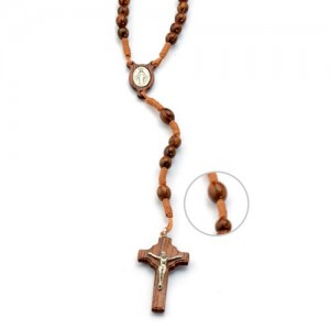Rosary in rosewood oval wood and silver tied in string