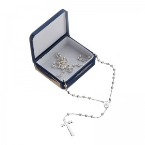 Rosary necklace 925 silver 4 mm beads