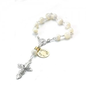 One decade rosary  in true mother of pearl with silver binding