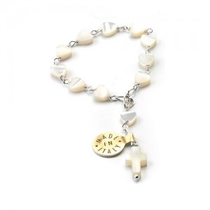 One decade rosary in silver and heart-shaped mother-of-pearl