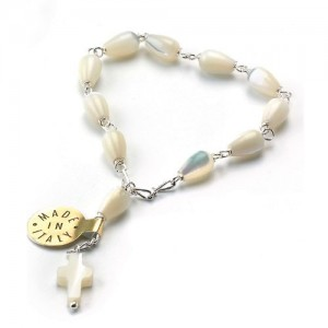 One decade rosary in silver and in pearl mother-of-pearl