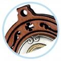 Acquasantiera legno con placca in metallo