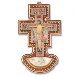 Acquasantiera a croce di San Damiano in legno noce