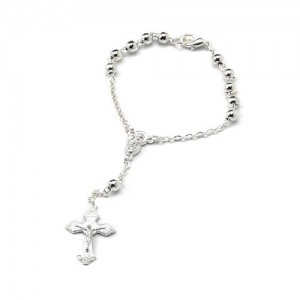 One decade rosary chained in smooth silver metal