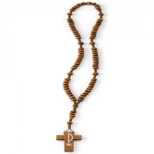 Rosary in smooth round wood