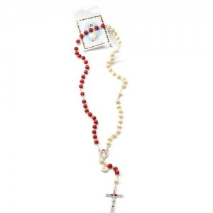 Rosary chained in wood Merciful Jesus
